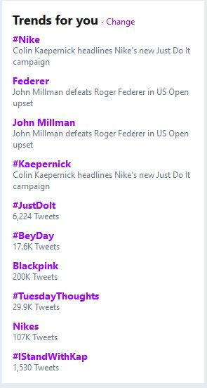 Kaepernick Trending