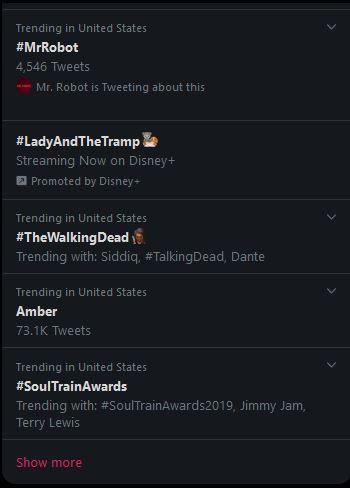 Mr. Robot Trending - 11.17.2019