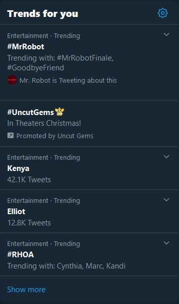Mr. Robot Episode 12 and 13 Trending - 12.22.2019