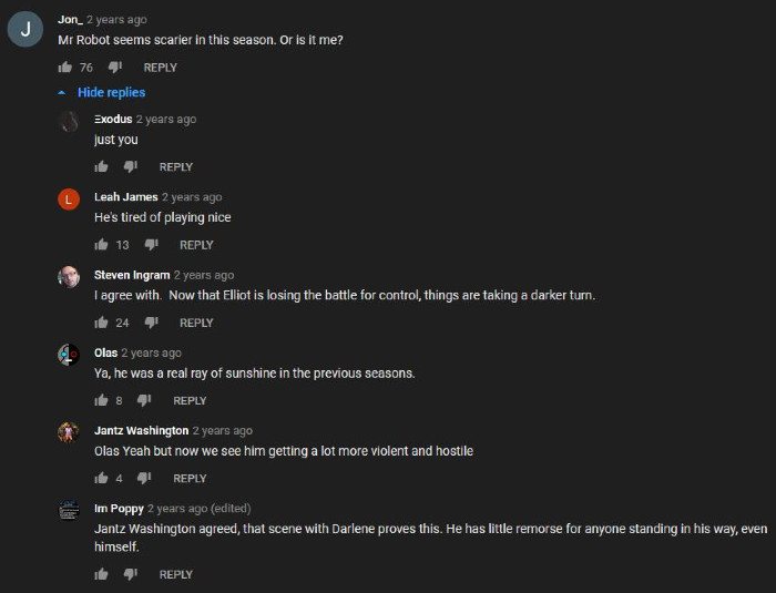 Old YouTube Comments About Mr. Robot 2 (Alt)
